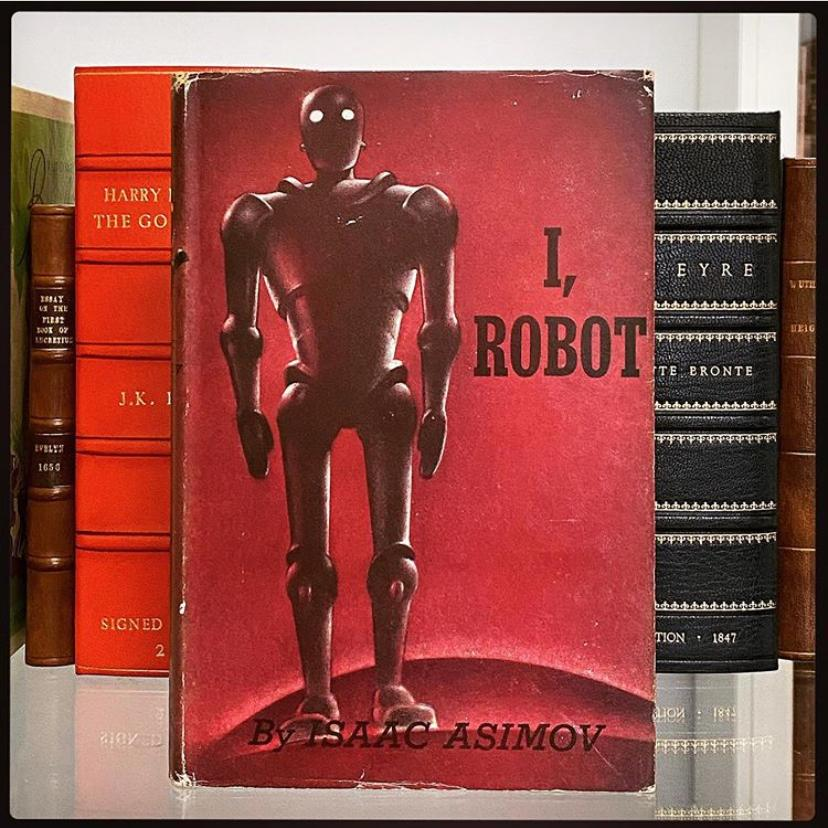 Photo of shelf containing Asimov's I Robot.