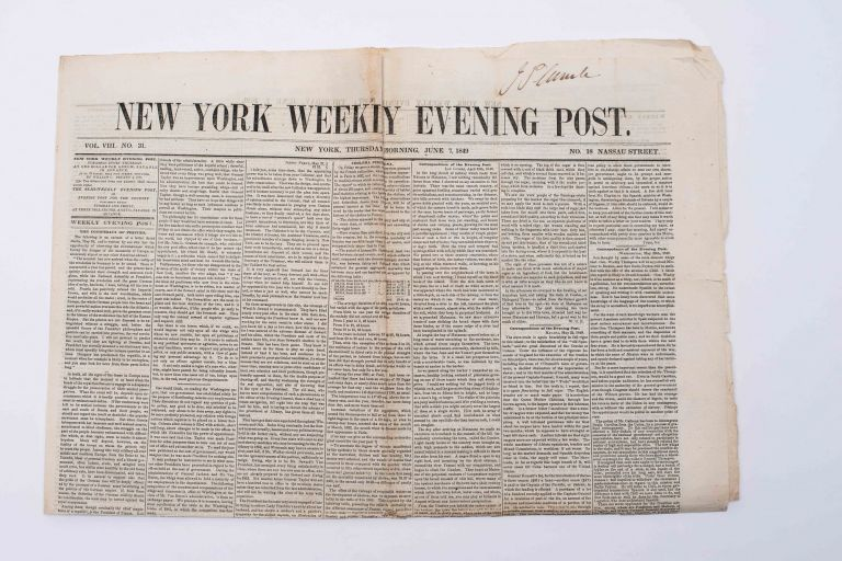 """""""The 'Running' of Slaves: The Extraordinary Escape of Henry Box Brown and of Wm. & Ellen Crafts"""" [in] THE NEW YORK WEEKLY EVENING POST"""