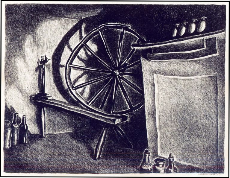 Limited Edition Lithograph of a Spinning Wheel