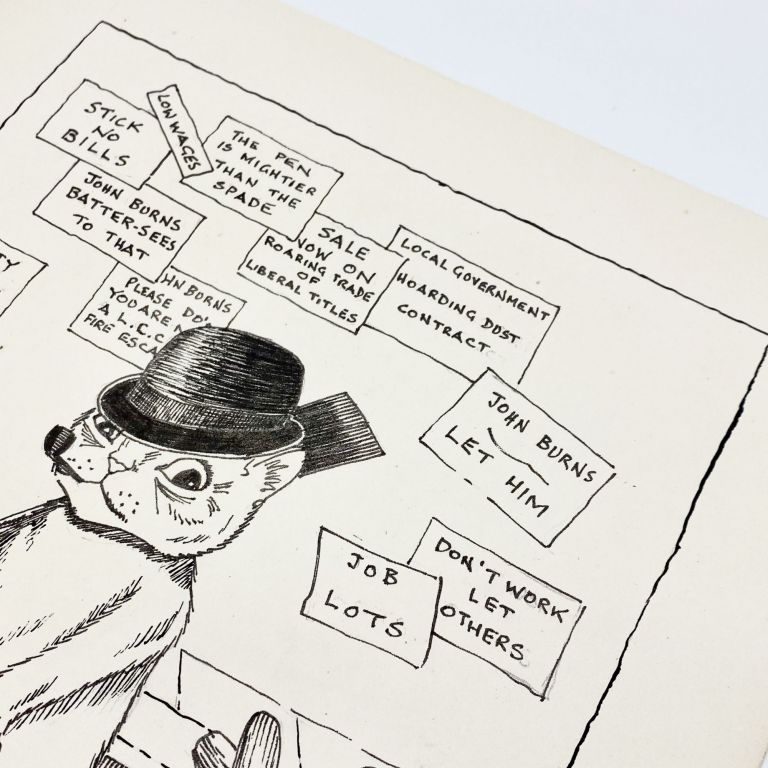 Original art: drawing captioned JOHN BURNS, WHERE IS THERE ANOTHER DUST HEAD?