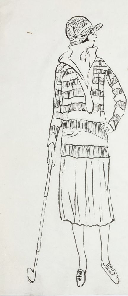 Pre-war manuscript of commercial drawings with Western and Japanese fashions