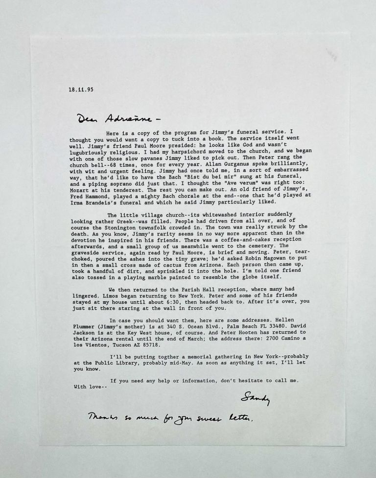Letter From J.D. McClatchy to Adrienne Rich Regarding the Funeral of James Merrill