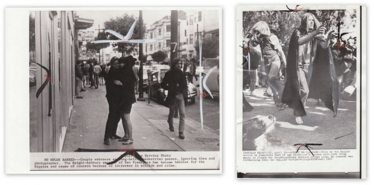 [TWO ORIGINAL WIRE-SERVICE PHOTOS OF HIPPIES IN THE HAIGHT]. Haight-Ashbury.