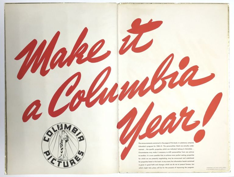 EXCITEMENT IN ENTERTAINMENT: Columbia's Theme Song for 1940-1941