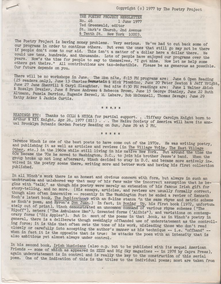 THE POETRY PROJECT NEWSLETTER - No. 46 - June 1977. Poetry Project, Ted GREENWALD.