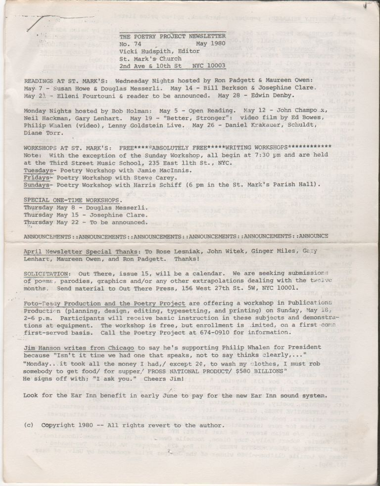 THE POETRY PROJECT NEWSLETTER - No. 75 - May 1980. Poetry Project, Vicki HUDSPITH.