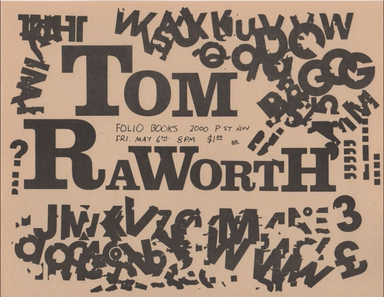 [Flyer for a Reading by Tom Raworth at Folio Books, D.C.]. Tom RAWORTH.