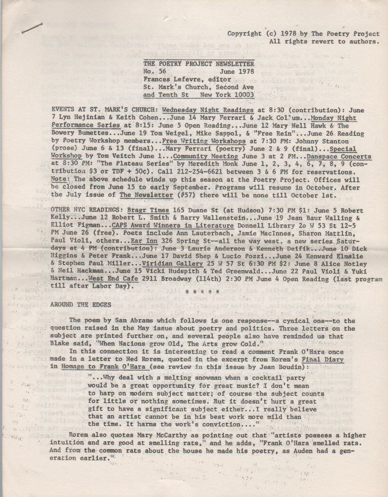 THE POETRY PROJECT NEWSLETTER - No. 56 - June 1978. Poetry Project, Frances LEFEVRE.