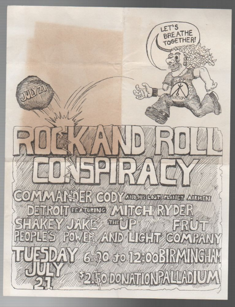 ROCK AND ROLL CONSPIRACY [CONCERT FLYER]. Commander Cody, his Lost Planet Airmen.