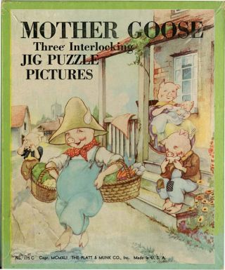 MOTHER GOOSE: Three Interlocking Jig Puzzle Pictures